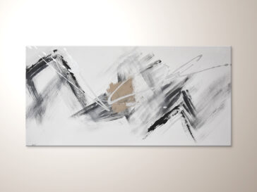 Abstraktes Acrylbild in schwarz weiss silber