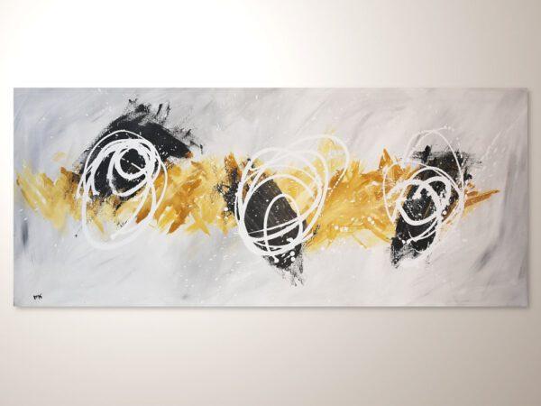 Grosses Abstraktes Acrylbild in Grau Ocker