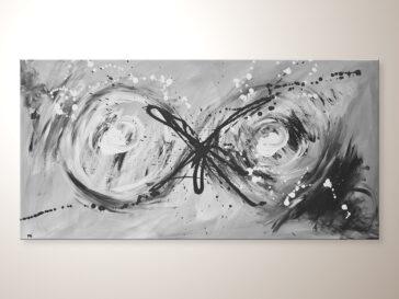 Modernes Acrylbild in Grau Weiß Schwarz