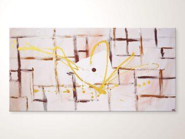 Abstraktes Bild in Weiß Braun, Acrylbilder Leinwandbilder