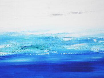 Abstraktes Ozean Bild Meer Bilder Blau Weiss modern