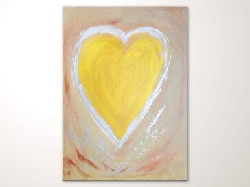 Herzbild, Acrylbild mit Herz in Gold